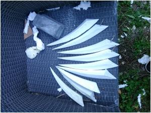 WiP - Helmstacheln geschnitzt und geschliffen aus Styropor